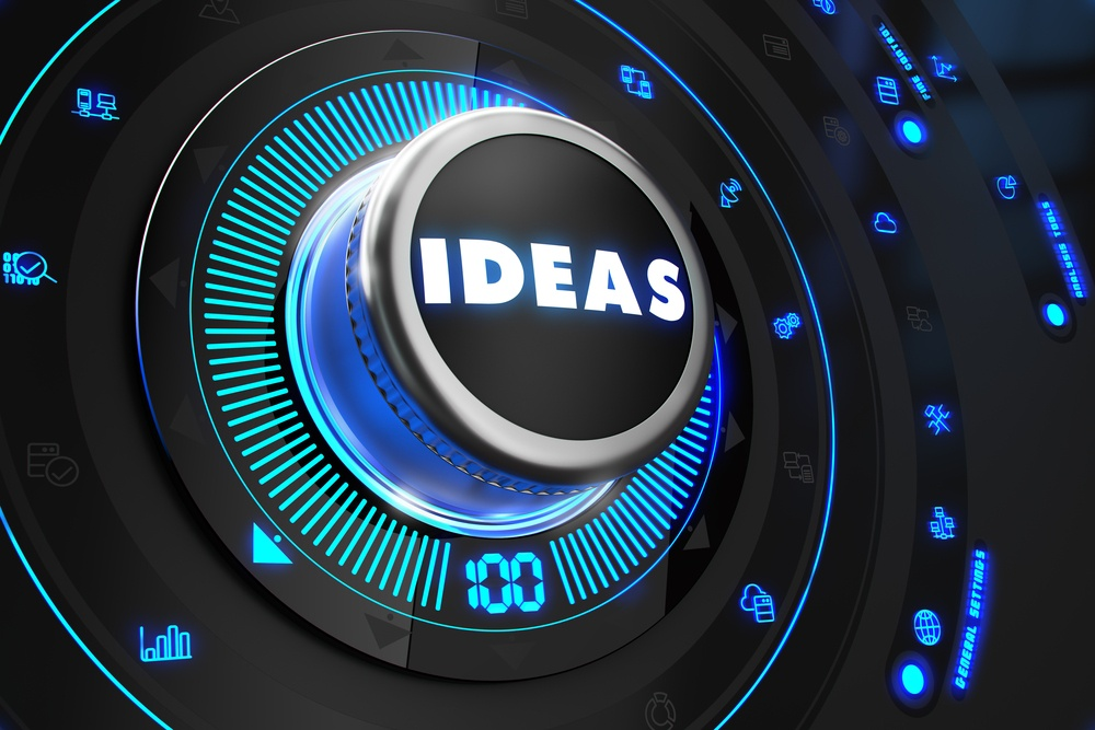 Ideas Controller on Black Control Console with Blue Backlight. Improvement, regulation, control or management concept..jpeg