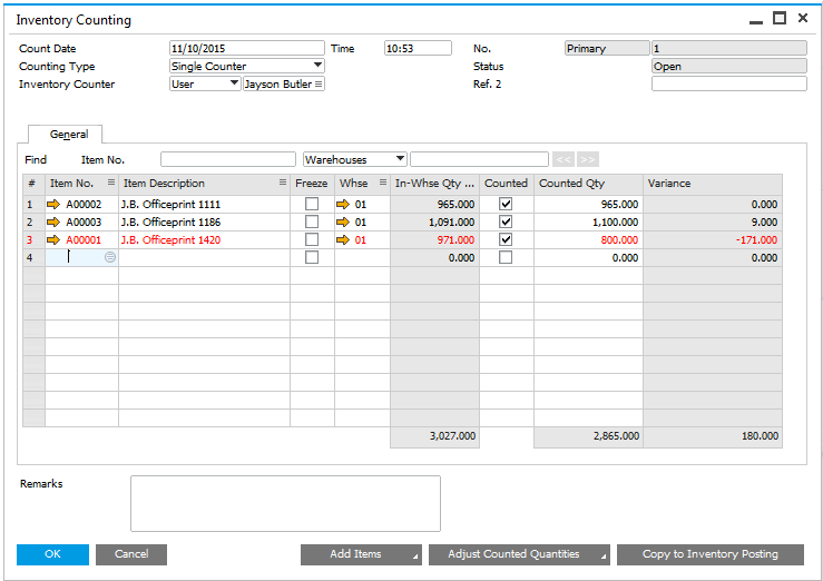 Tips and Tricks: Inventory Counting Tracking in SAP Business One